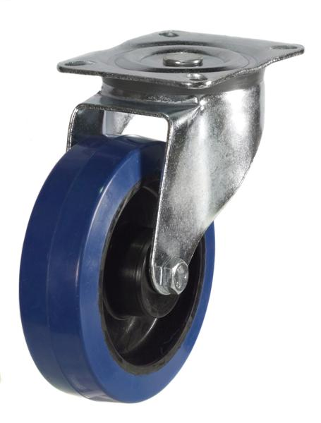 DR Series; Pressed Steel/Blue Elastic Rubber castor