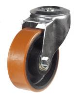150mm Light Duty Polyurethane on Cast Iron M12 Bolt Hole castors - 350kg capacity