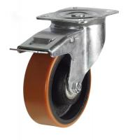 125mm medium duty braked castor poly/cast wheel