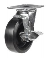 200mm Heavy Duty Rubber on Cast Iron Braked castors - 500kg capacity