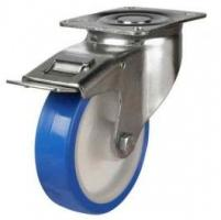 100mm medium duty braked castor elastic poly/nylon wheel