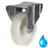100mm Medium Duty Nylon wheel with Stainless Steel Bracket, M12 Fixed castors - 200kg capacity