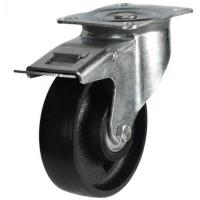 100mm medium duty braked castor cast iron wheel