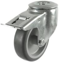 125mm Light Duty Rubber on Plastic M12 Bolt Hole Braked castors - 100kg capacity