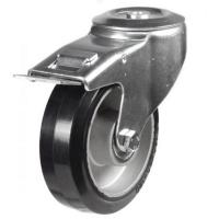 160mm Light Duty Rubber on Aluminium M12 Bolt Hole Braked castors - 350kg capacity