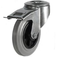 160mm Light Duty Rubber on Plastic Bolt Hole castors - 70kg capacity