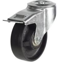 200mm Light Duty Cast Iron M12 Bolt Hole Braked castors - 350kg capacity