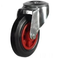 200mm Light Duty Rubber on Plastic M12 Bolt Hole castors - 205kg capacity