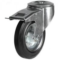 200mm Light Duty Rubber on Steel M12 Bolt Hole Braked castors - 205kg capacity