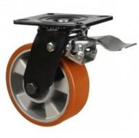 200mm Heavy Duty  Polyurethane On Aluminium Centre Braked Castors