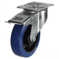 200mm medium duty braked castor blue elastic rubber wheel