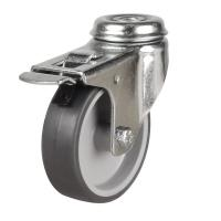 M10 Bolt Braked castors 75mm wheel diameter upto 50kg capacity
