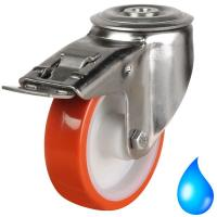 Stainless Steel M12 Bolt Hole Braked castors 125mm wheel diameter upto 200kg capacity