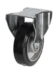 160mm Light Duty Rubber on Aluminium Fixed castors - 350kg capacity