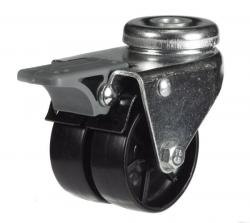 M10 Twin Bolt Hole Braked castor 50mm wheel diameter upto 40kg capacity