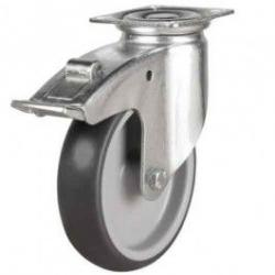 100mm Synthetic Non-Marking Rubber Braked Castors