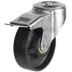 125mm Heavy Duty Cast Iron M12 Bolt Hole Braked castors - 270kg capacity