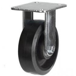 125mm Heavy Duty Rubber on Cast Iron Fixed castors - 275kg capacity