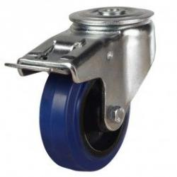 200mm Elastic Non-Marking Rubber On Nylon Centre Braked Castors