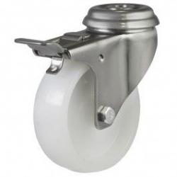75mm Medium Duty Nylon Stainless Steel Bolt Hole Braked Castors