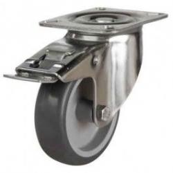 80mm Synthetic Non-Marking Rubber Braked Castors