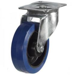 80mm medium duty swivel castor blue elastic rubber wheel