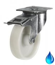 Stainless Steel Braked castors 100mm wheel diameter upto 200kg capacity