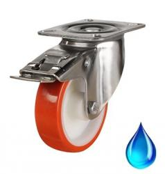 Stainless Steel, Braked castor 80mm wheel diameter upto 100kg capacity