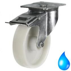 Stainless Steel Braked castors 125mm wheel diameter upto 270kg capacity