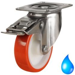 Stainless Steel, Braked castors 80mm wheel diameter upto 100kg capacity