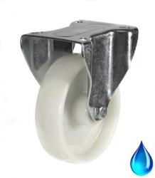 125mm Medium Duty Nylon with Stainless Steel Bracket, Fixed castors - 270kg capacity