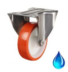 Stainless Steel Fixed castor 80mm wheel diameter upto 100kg capacity