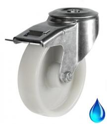 Stainless Steel, M12 Bolt Hole Braked castor 80mm wheel diameter upto 200kg capacity