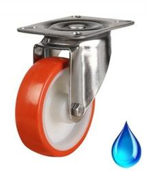 Stainless Steel, Swivel castor 80mm wheel diameter upto 100kg capacity