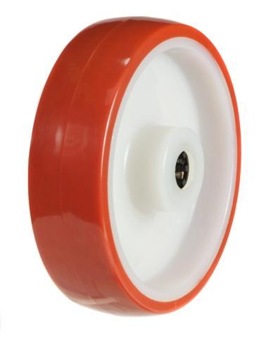 100mm wheel  with a Poly tyre on a Nylon Centre; 150Kg Capacity