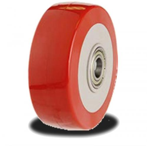 100mm wheel with a Poly tyre on a Nylon Centre; 250Kg Capacity