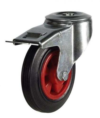 M12 Bolt Hole Braked castors 160mm wheel diameter upto 135kg capacity