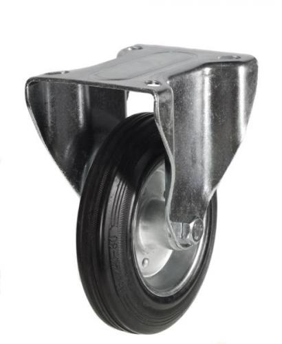 160mm Heavy Duty Rubber on Steel Fixed castors - 135kg capacity