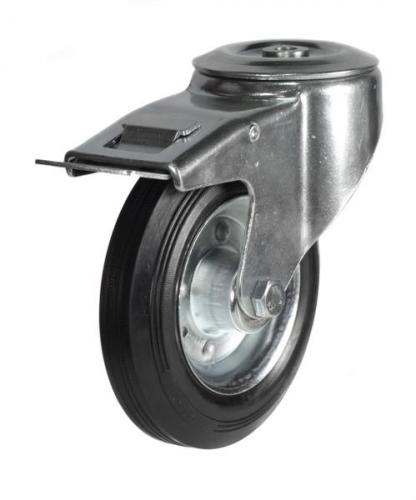 125mm Light Duty Rubber on Steel M12 Bolt Hole Braked castors - 100kg capacity