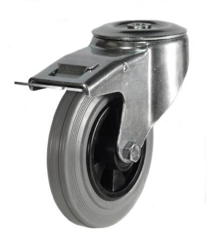 M12 Bolt Hole Braked castor 80mm wheel diameter upto 60kg capacity