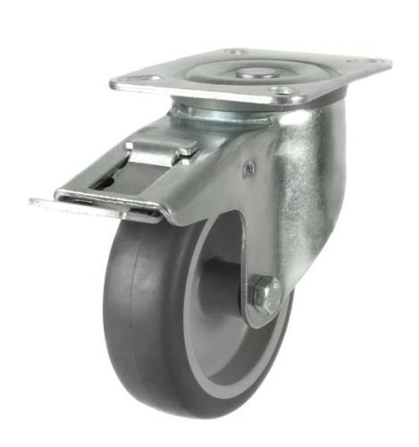 Braked castors 125mm wheel diameter upto 100kg capacity