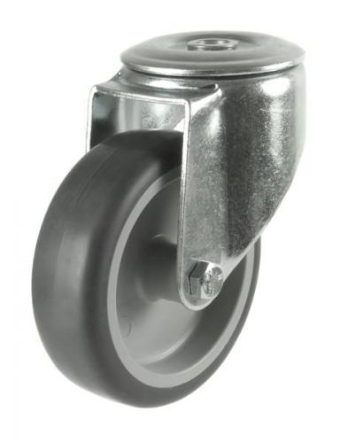 125mm Light Duty Rubber on Plastic M12 Bolt Hole castors - 100kg capacity