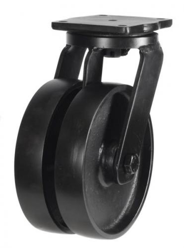 200mm Extra Heavy Duty Cast Iron Twin Wheel Swivel castors - 2000kg capacity