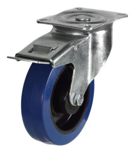 100mm medium duty braked castor blue elastic rubber wheel