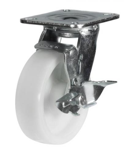 125mm Heavy Duty Nylon Braked castors - 350kg capacity