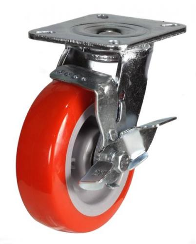 125mm Heavy Duty Poly Nylon Braked castors - 340kg capacity