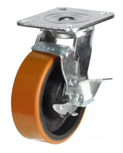 200mm Heavy Duty Polyurethane on Cast Iron Braked castors - 500kg capacity