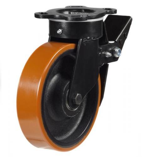 Braked castors 250mm wheel diameter upto 1200kg capacity