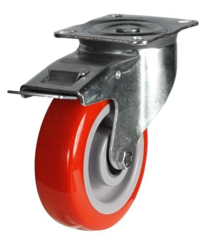 125mm Heavy Duty Poly Nylon Braked castors - 220kg capacity