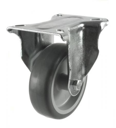 125mm Light Duty Rubber on Plastic Fixed castors - 100kg capacity